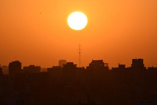 Sunset, City, Big City, Orange, Black, Background