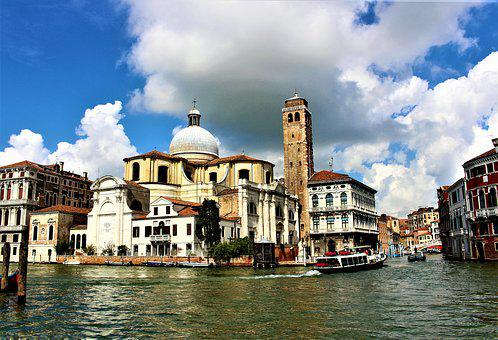 Church, Architecture, Palace, Water, Venice