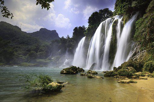 The Waterfall, The Landscape, Nice, World, Water, Wave