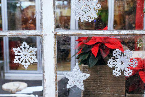 Window, Decoration, Christmas, Weathered, Flowers