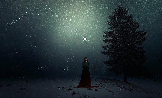 Winter, Snowfall, Sorceress, Woman, Christmas, Fee