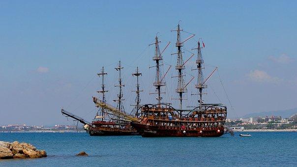 Ship, Sailboat, Bay, Schooner, Landscape, Summer