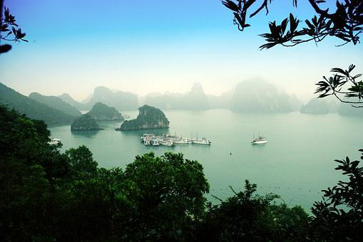 Halong Bay, Vietnam, Asia, Sea, Only, Fog, Morning