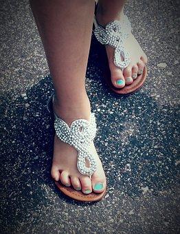 Feet, Sandals, Nail Polish, Teal, Sparkle, Road, Summer