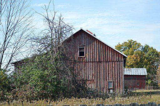 Old Barn, Barn, Red Barn, Weathered, Barn Wood, Rustic