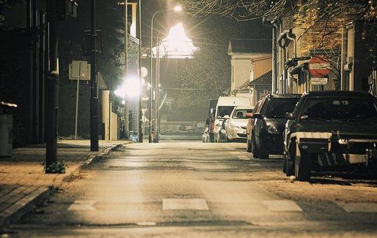 Night, Street, Light, Flash, Way, Lantern, City
