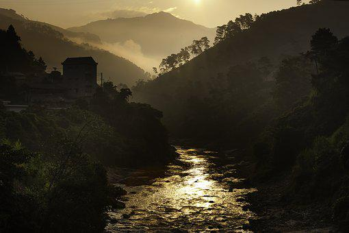 Dawn, The High Mountains, Fog, Cloud-covered, Streams