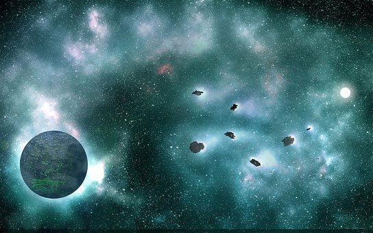 Planet, Space, Asteroids, World, Galaxy, Light, Cosmos