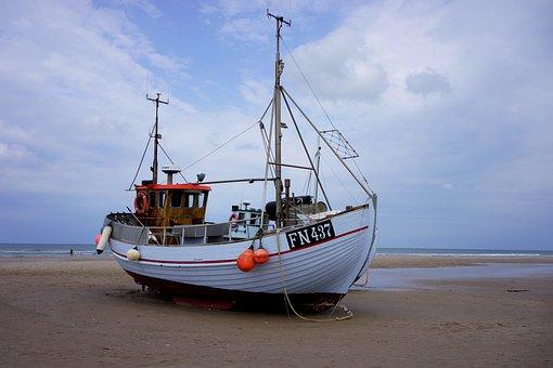 Fishing Boat, Denmark, Loekken, North, North Sea