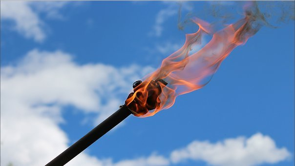 Torch, Clouds, Sky, Burn, Red, Flame, Fire, Hell, Oil