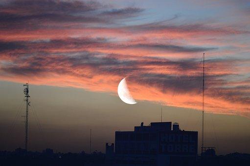 Afternoon, Moon, Sky, Clouds, Beauty, Half Moon, Summer