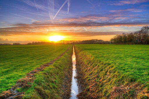 Ditch, Sunset, Hdr, Meadows, Agriculture, Country