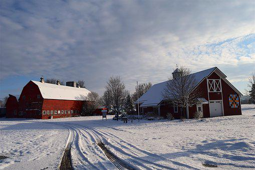 Snow, Barn, House, Shadow, Wooden, Winter, Rural, White