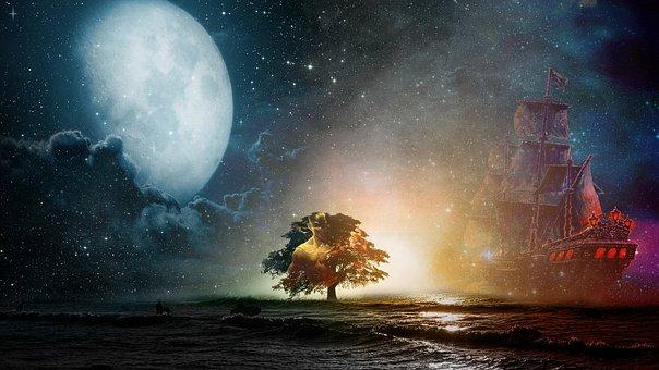 Landscape, Lee Sin, Sky, Boats, Ship, Horizon, Month
