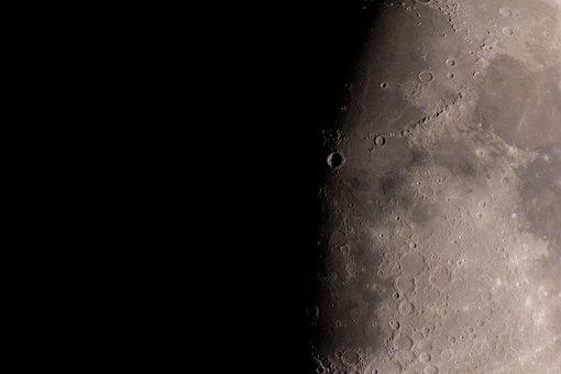 Moon, Crater, Celestial Body, Half Moon, Terminator