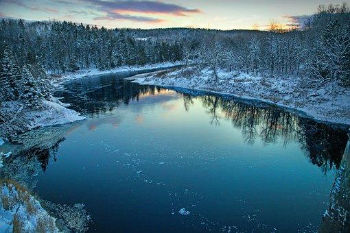 Winter, Landscape, Christmas Time, River, New Brunswick