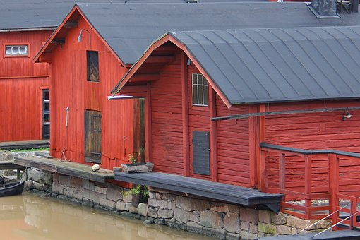Beautiful, Houses, Traditional, Wooden, Wood, Porvoo