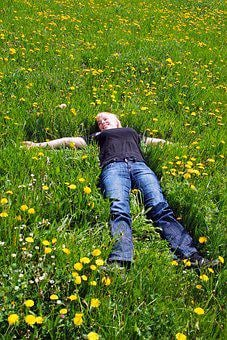 A Woman, Laying, Happy, Smiling, Background, Nature