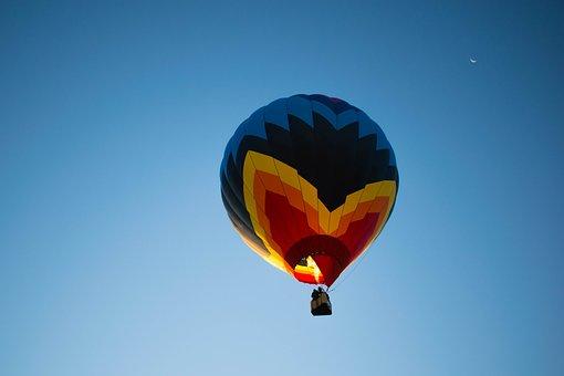 Balloon, Festival, Moon, Sunrise, Sky, Color