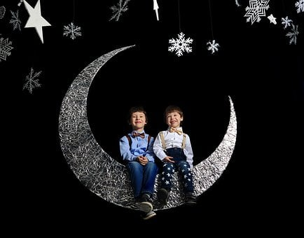 Black Background, Kids, Two Boys, Star, Month, Story