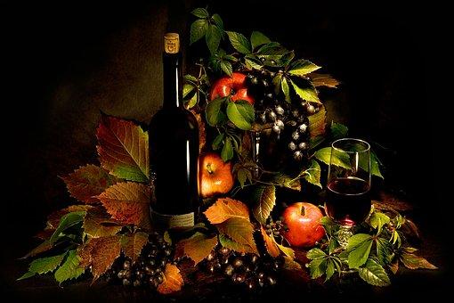 Bulle, Wine, Grapes, Apples, Still Life