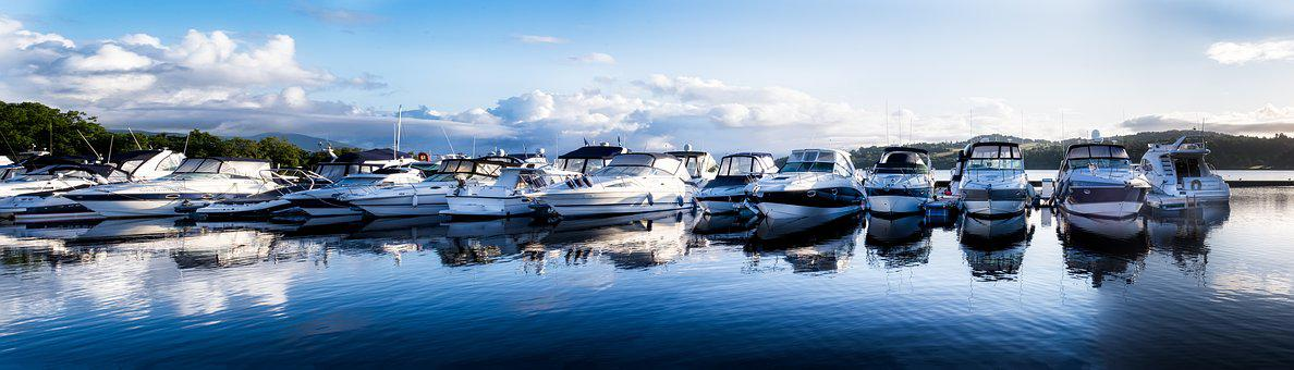 Panorama, Boats, Marina, Blue Sky, Calm Water, Water