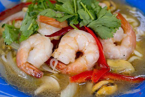 Shrimp, Parsley, Vegetables, Seafood, Delicious, Red