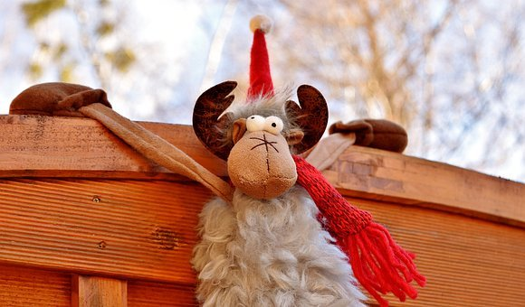 Moose, Christmas, Santa Hat, Depend, Funny, Figure