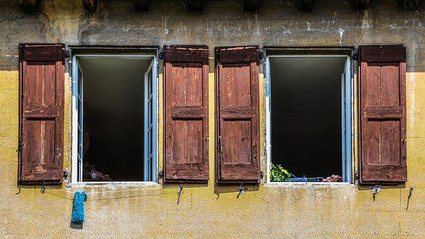 Window, Open, Two, Old, Pane, Facade, House, Former