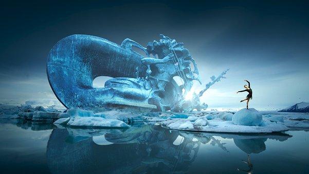 Fantasy, Ice, Sculpture, Dancer, Woman, Water, Dance