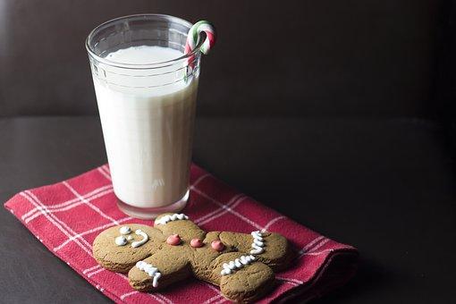 Christmas, Cookie, Milk, Candy, Cane, Santa, Glass