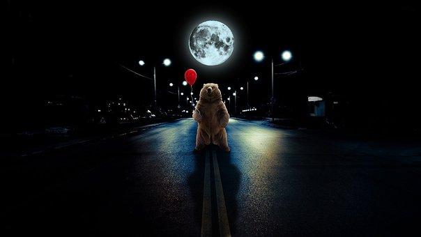 Photomanipulation, Bear, Nature, Photoshop, Balloon
