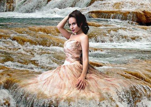 Woman, Model, Girl, Cascade, Waterfall, River, Torrent