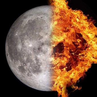 Moon, Fire, Celestial Body, Sun, Flame, Night, Sky