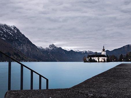 Winter, Austria, Gmunden, Lake, Traunsee, Alpine
