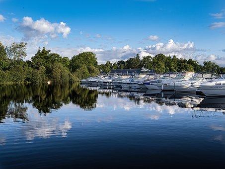 Boats, Marina, Blue Sky, Calm Water, Water, Trees