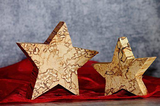 Wood Star, Star, Hand Labor, Grain, Christmas, Advent