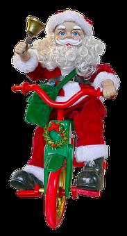 Santa Claus, Bike, Bell, Figure, Fabric, Bart