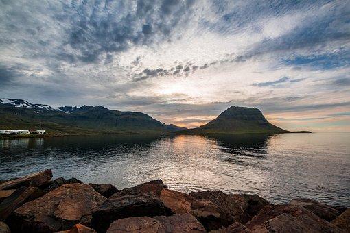 Landscape, Sunset, Iceland, Dusk, Twilight, Nature, Sun