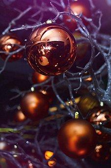 Xmas, Glitter, Winter, Light, Celebration, Sphere, Gold