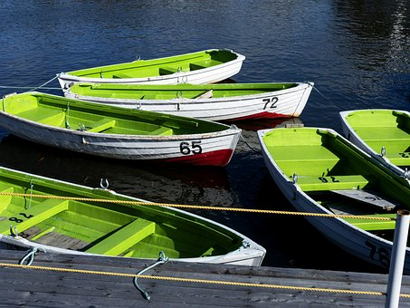 Row Boats, Green, Wooden, Leisure, Outdoor, Boating