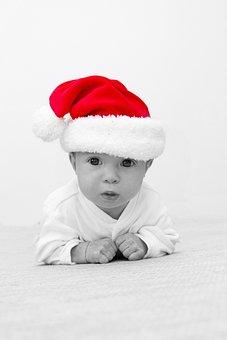 Baby, Santa Clause, Father Christmas, Black White