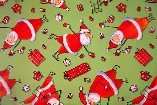 Wrapping Paper, Santa Clauses, Funny, Green, Red, Gift