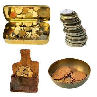 Coins, Handful, Waist Bags, Wealth, Piggy, Cash Money