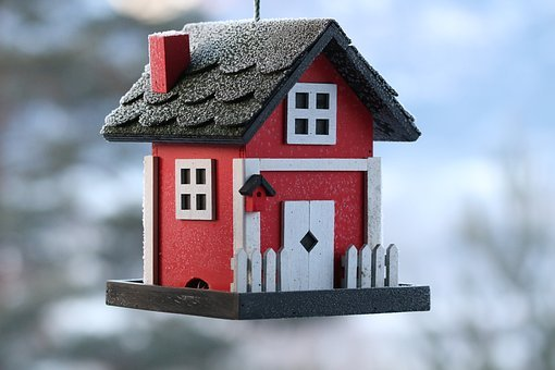 Outdoors, Birdhouse, Winter, Norway, Red, Icy, Ice