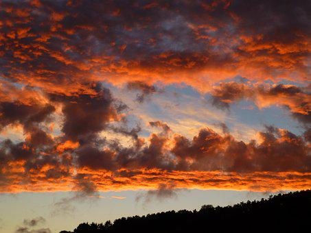 Evening Sky, Dramatic, Cloud Formation, Afterglow