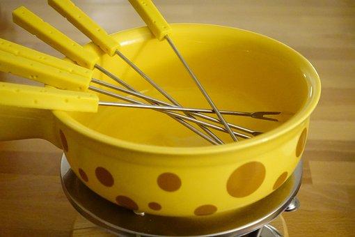 Käsefondü Pot, Fondütopf, Pot, Yellow, Ceramic
