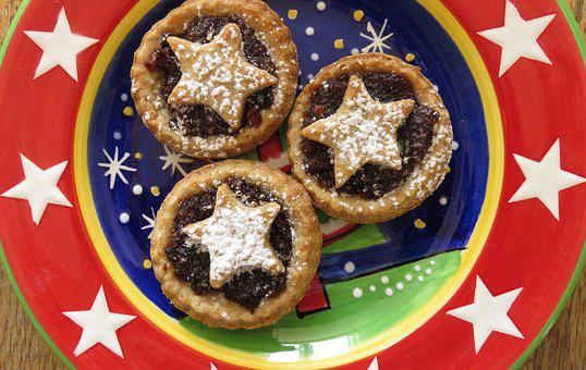 Mince Pies, Christmas, Baking, Food, Plate, Sweet