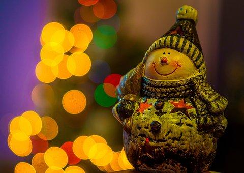 Santa Claus, Christmas, Ornament, Lights, Statue, Elf