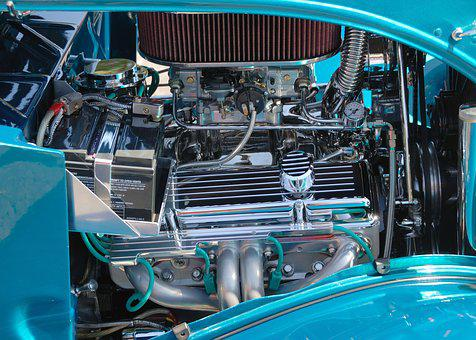 Car Engine, Customized, Retro, Chrome, Shiny, Car